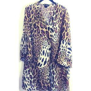 Ashley Stewart Animal Print Leopard Button Blouse